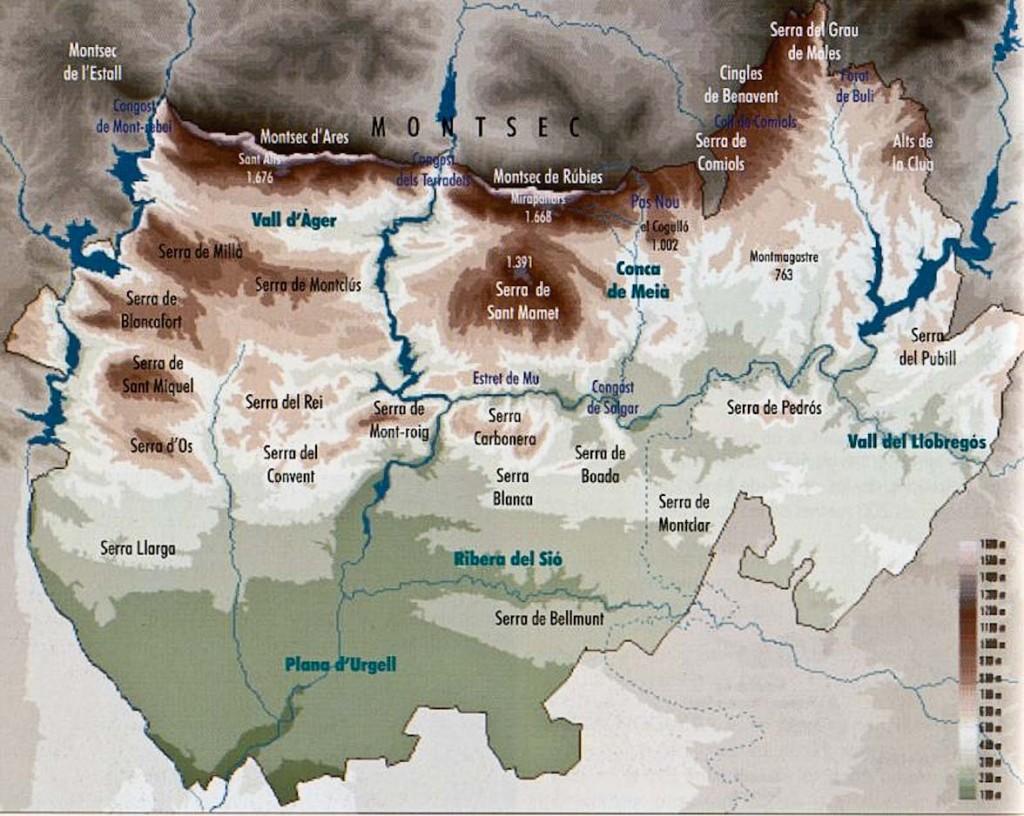 Mapa Físic de la Noguera