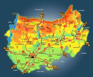 Mapa de la comarca de la Noguera
