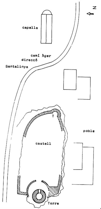 Mapa del conjunt de Torres de Cas. Àger, La Noguera. Montsec d'Ares. Dibuix de Francesc Fité.