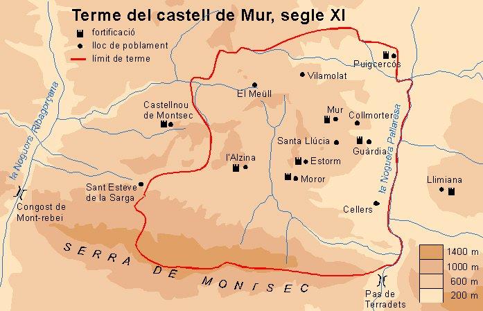 Mapa dels limits territorials del Castell de Mur amb els principals castells (s.XI)