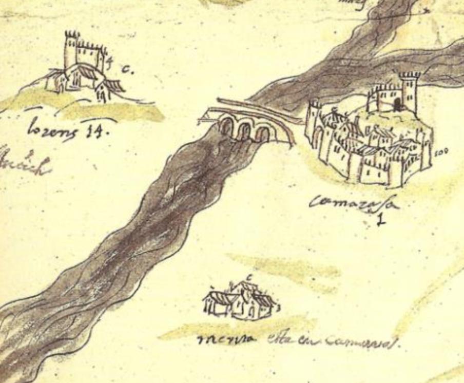 Detall del mapa del Marquesat de Camarasa on es veu ubicat Merita, Camarasa i Llorenç. Camarasa, La Noguera. Lleida, Catalunya. Montsec.
