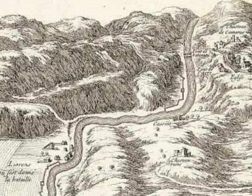 Detall del mapa de Beaulie on es veu ubicat Merita, Camarasa i Llorenç. Camarasa, La Noguera. Lleida, Catalunya. Montsec.