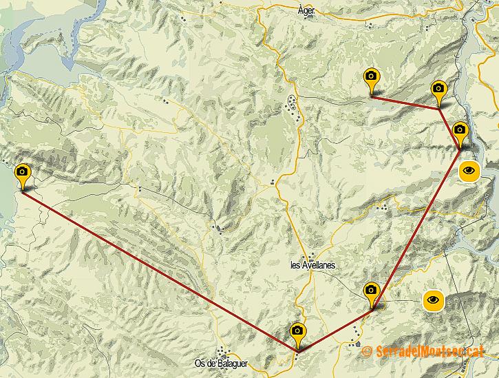 Ruta Panoràmica pels Aspres del Montsec (o Aspres de La Noguera) des d'Os de Balaguer fins a Torres de Cas.