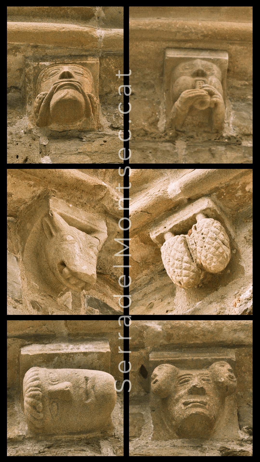 Mènsules esculpides de l'absis de Santa Maria de Covet, Isona i Conca Dellà, Pallars Jussà. Lleida, Catalunya. Montsec de Rúbies (o de Meià).