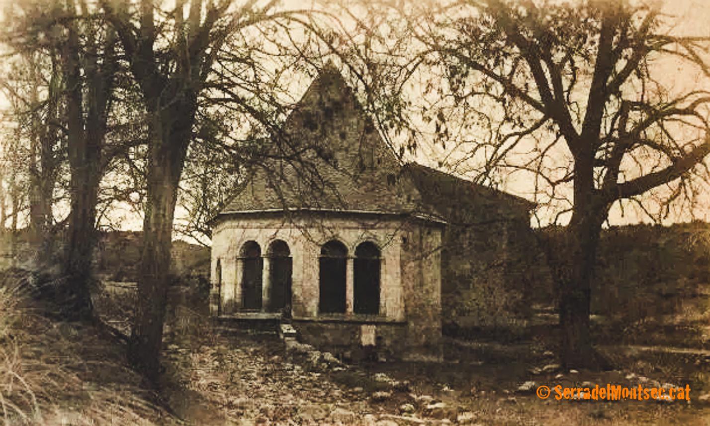 Imatge antiga de l'Ermita de Sant Medard molt abans de convertir-se en un parc i àrea d'esbarjo. Benavarri, Ribagorça. Osca, Aragó. Montsec de l'Estall.
