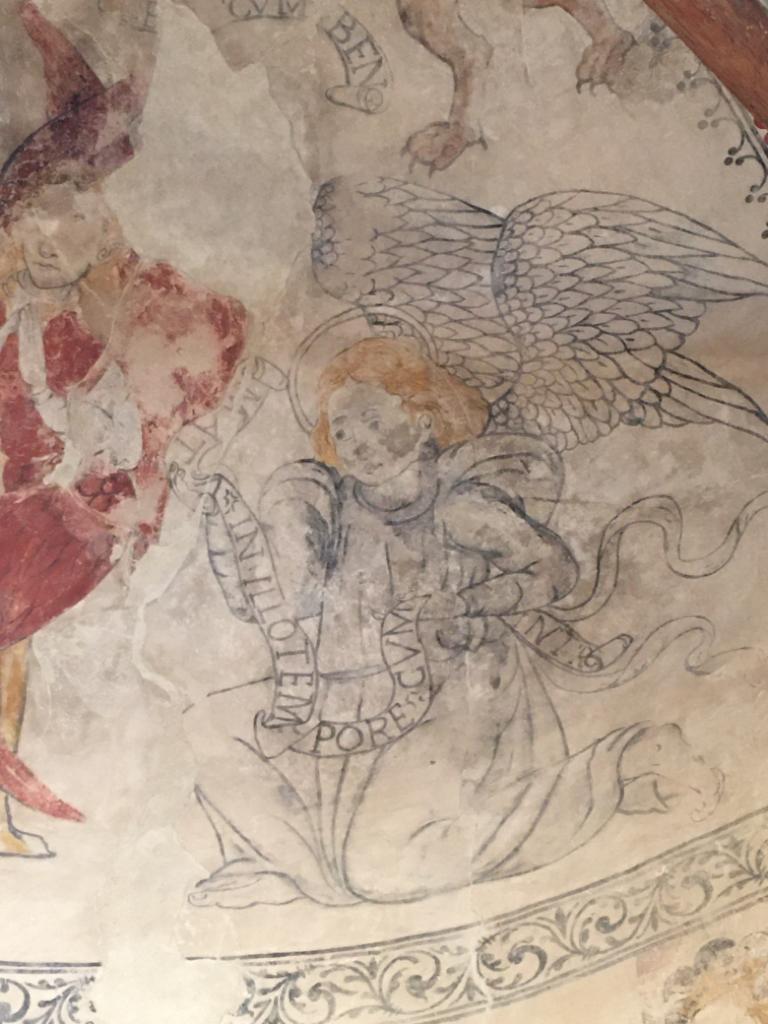 Pintures de l'absis d'època renaixentista. A les capes inferiors, també es van trobar pintures murals pertanyents al romànic. Santa Maria de Palau de Rialb, Baronia de Rialb. La Noguera, Lleida. Catalunya.