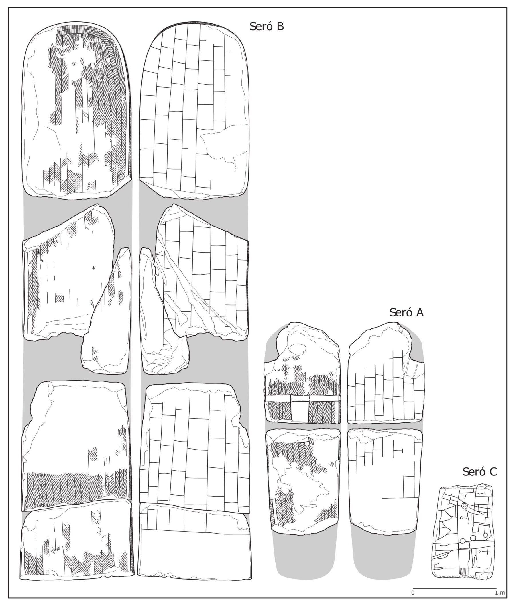Reconstrucció gràfica de les estàtues-menhir trobades a Seró, Artesa de Segre. La Noguera, Lleida. Catalunya. Montsec de Rúbies (o de Meià).