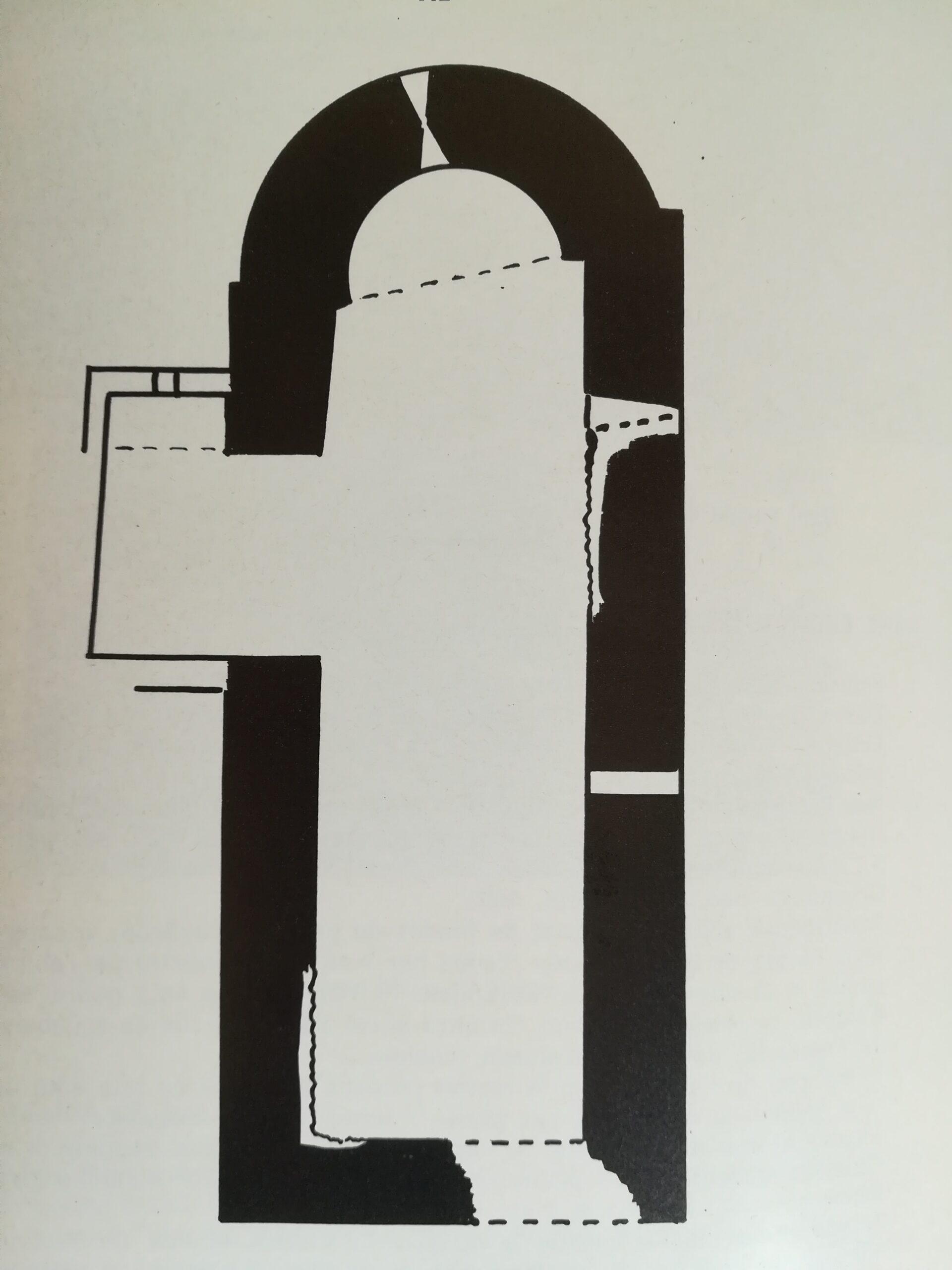 Planta de l'església castellera de Sant Eudald, del Castell de Rubió de Baix. Foradada, La Noguera. Lleida, Catalunya. Montsec de Rúbies (o de Meià).