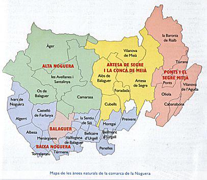 Mapa de les Àrees Naturals de la Comarca de la Noguera i la divisió administrativa per municipis