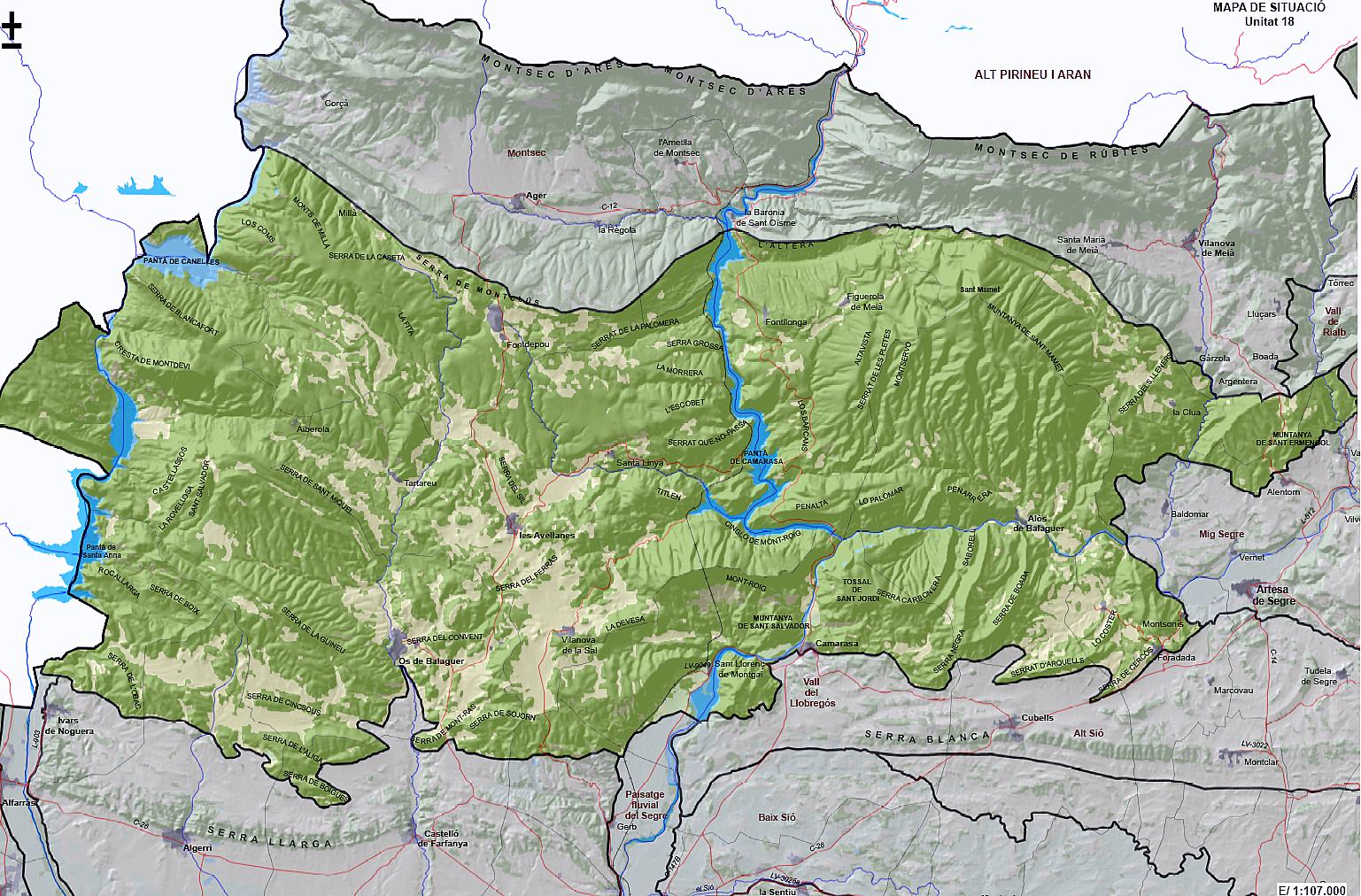 Mapa del Paisatge dels Aspres de La Noguera segons l'Observatori del Paisatge.