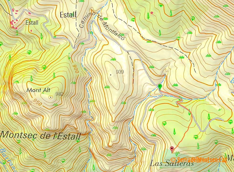 Mapa de situació dels dòlmens de Les Salteres. L'Estall, Viacamp i Lliterà, Ribagorça. Osca, Aragó. Montsec d'Estall.