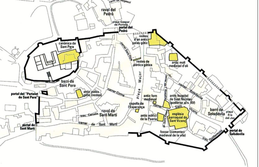 Plànol de la vila d'Àger en època medieval amb indicació del seu perímetre murat i els principals edificis. Francesc Fité, 1994.