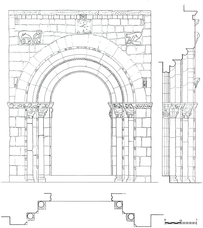 Planta, alçat i secció, a escala 1-50, de la portada romànica de l'església de Sant Just i Sant Pastor de Falç. Dibuix de J.A. Adell. Tolba, Ribagorça. Osca, Aragó. Montsec de l'Estall.