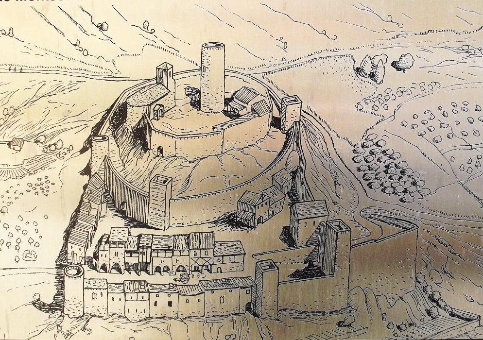 Recreació de l'antic assentament i castell de Montsonís. Foradada, La Noguera. Lleida, Catalunya. Montsec de Rúbies (o de Meià).