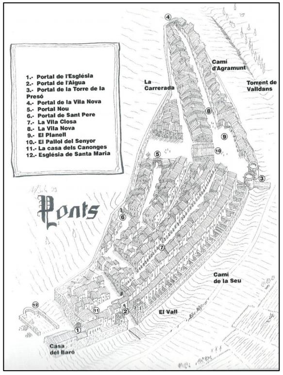 Dibuix de la recreació de la vila emmurallada de Ponts durant l'època medieval. Autor: Manuel Gabriel i Forn.