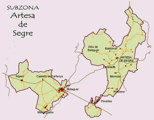 DO Costers del Segre. Subzona Artesa (comarca de La Noguera).