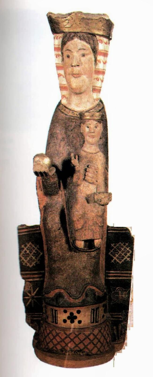 Talla romànica de la imatge de la Mare de Déu de Covet, Isona i Conca Dellà, Pallars Jussà. Lleida, Catalunya. Montsec de Rúbies (o de Meià).