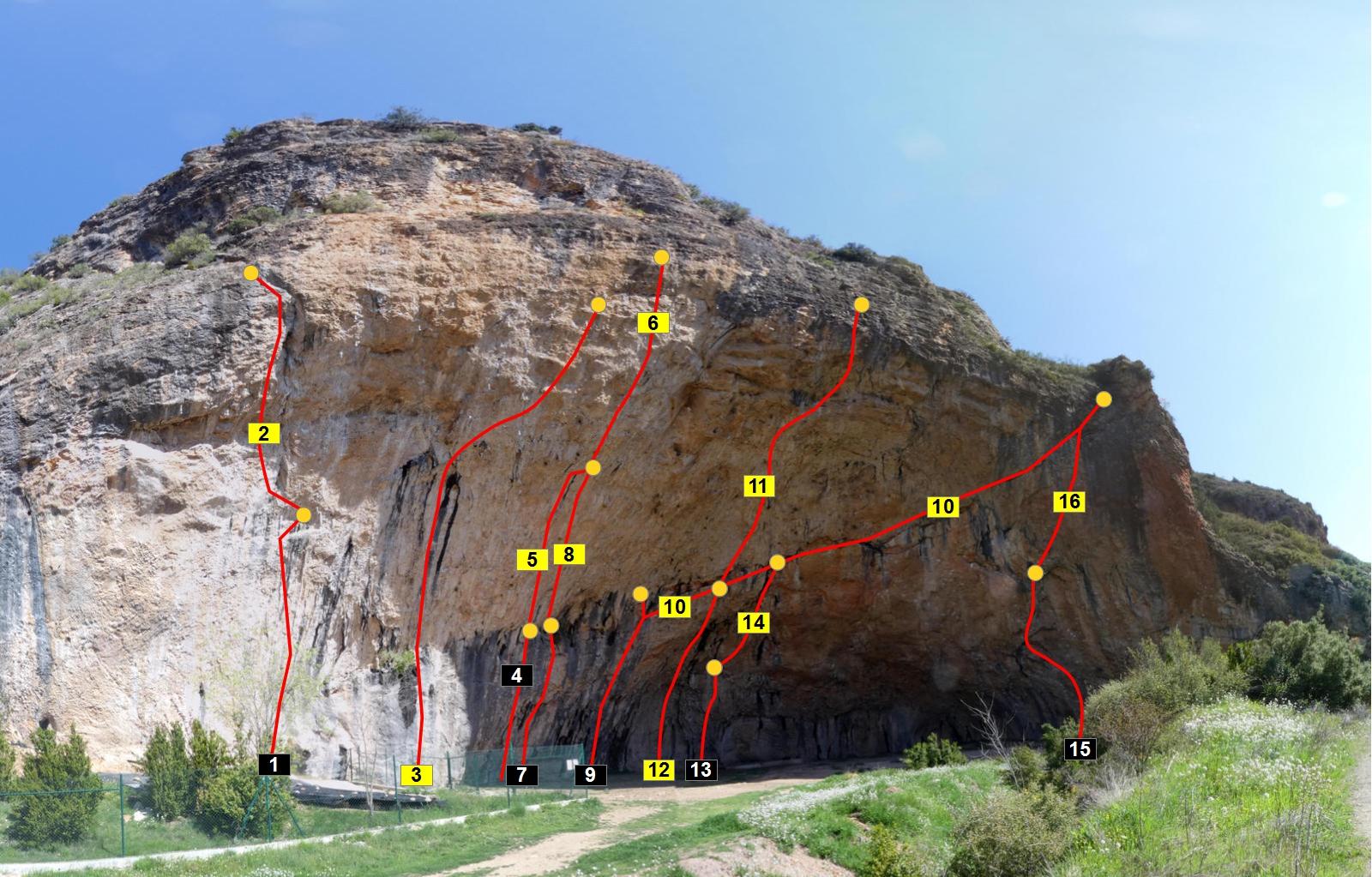 Topos d'algunes de les vies d'escalada de la Cova Gran de Santa Linya. La Noguera, Lleida. Catalunya, Aspres del Montsec. Foto de https://climbapedia.org/