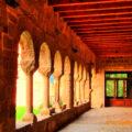 Part del claustre, encara dempeus, del Monestir de Santa Maria de Gualter. La Baronia de Rialb, La Noguera. Lleida, Catalunya. Montsec de Rúbies.